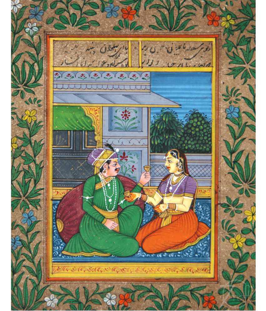 Handmade Indian Miniature Painting-King and Queen (With Golden Frame)