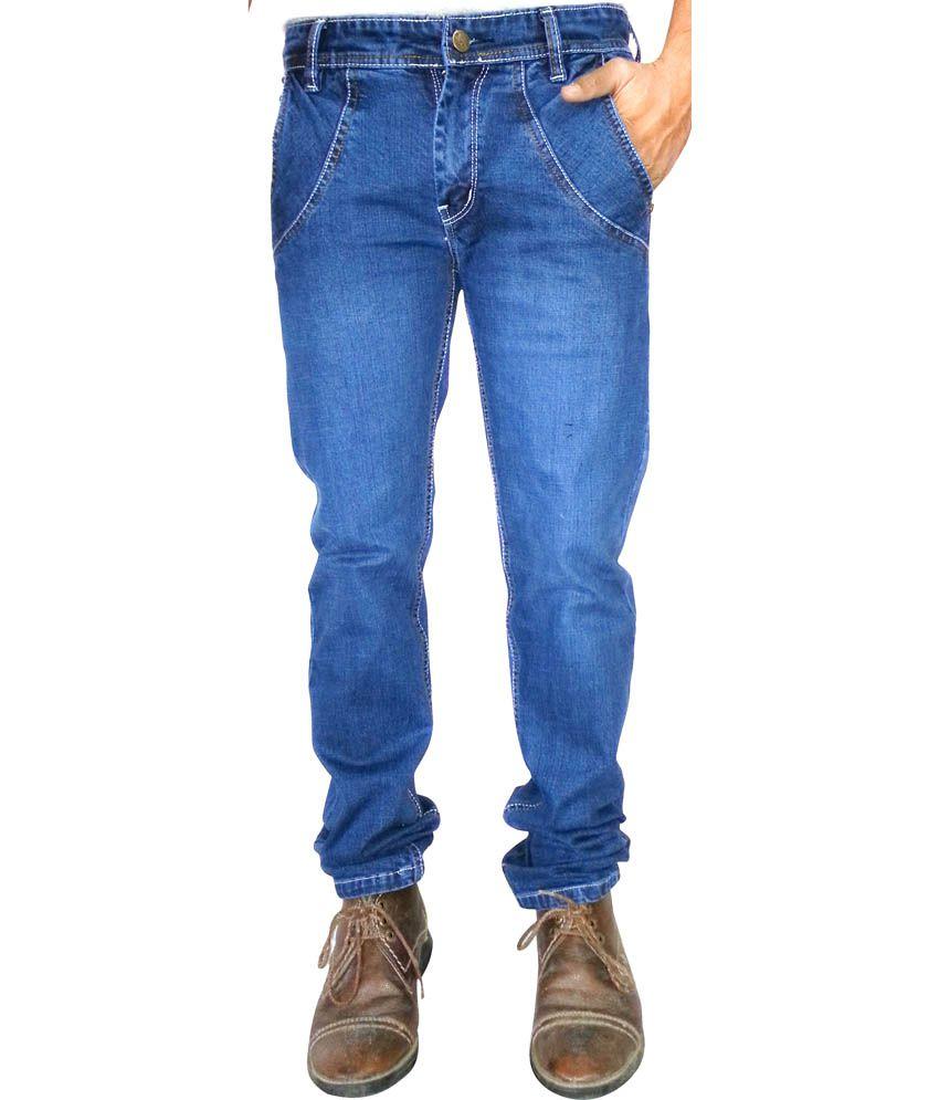 Fire Jeans Blue Cotton Blend Regular Fit Jeans