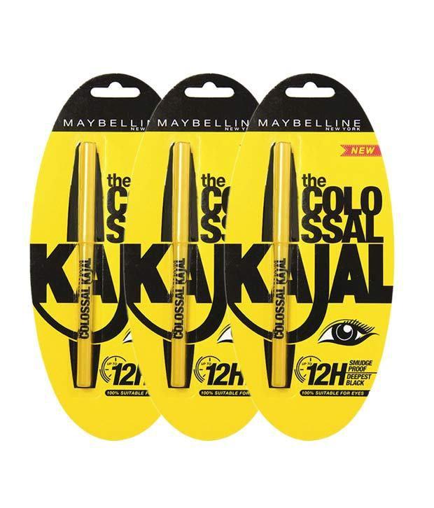 Maybelline Colossal 12h Black  Kajal pack Of 3