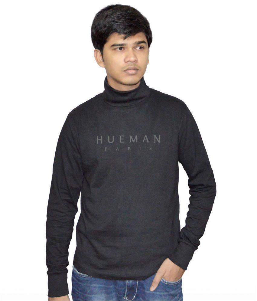 Hueman Black Cotton Round Neck Full Sleeves T-shirt
