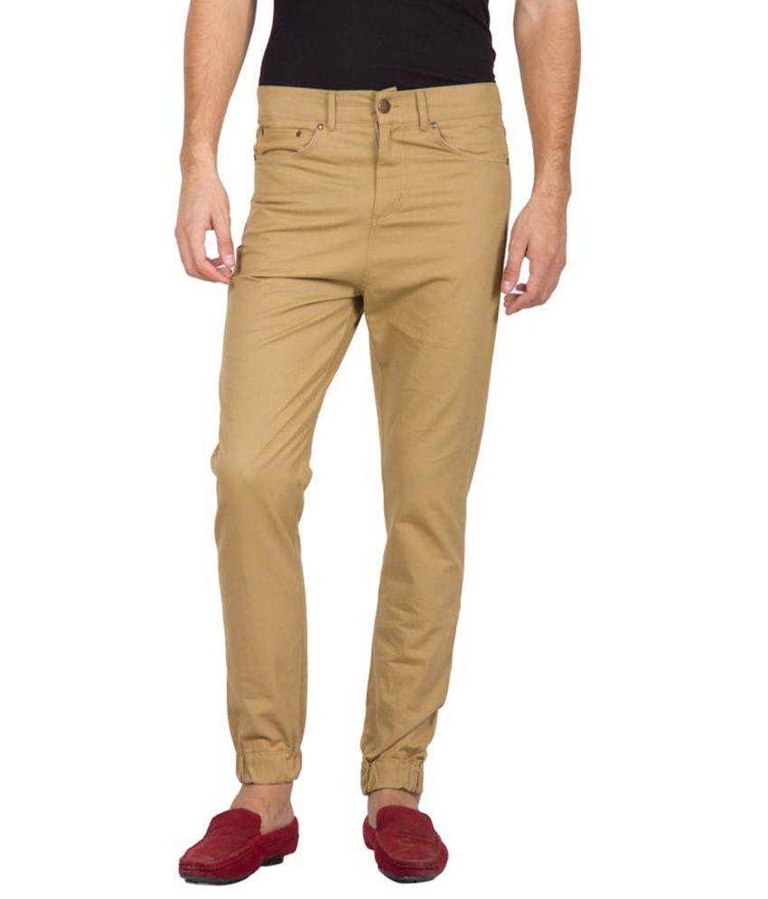 Hypernation Beige Color Slim Fit Jeans For Men