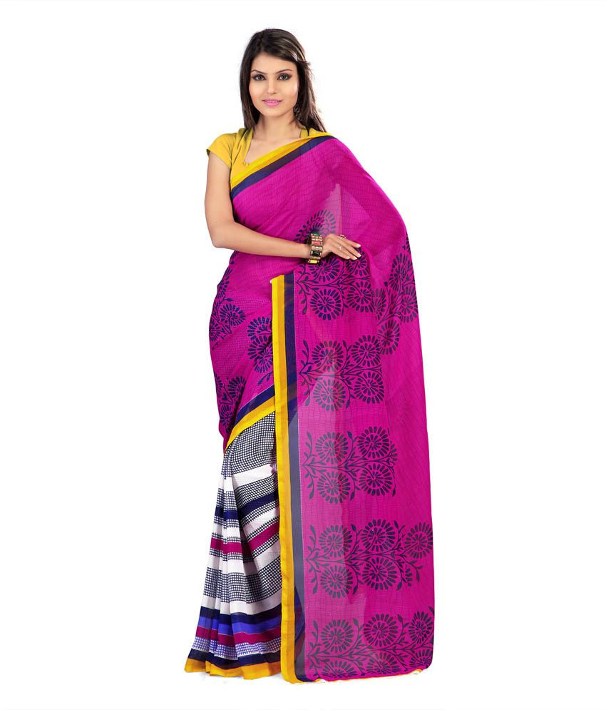 Rajesh Silk Mills Pink Faux Georgette Printed Saree With Blouse Piece