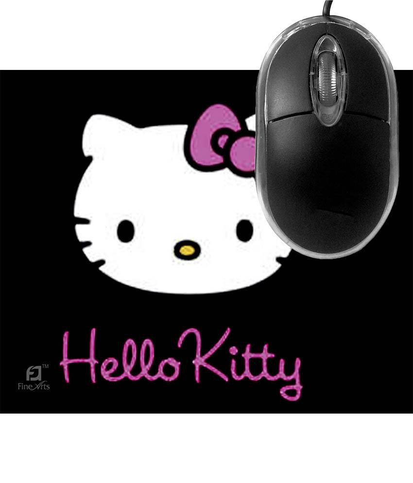 FineArts Hello Kitty Black Mousepad with Terabyte 3D Optical USB Mouse