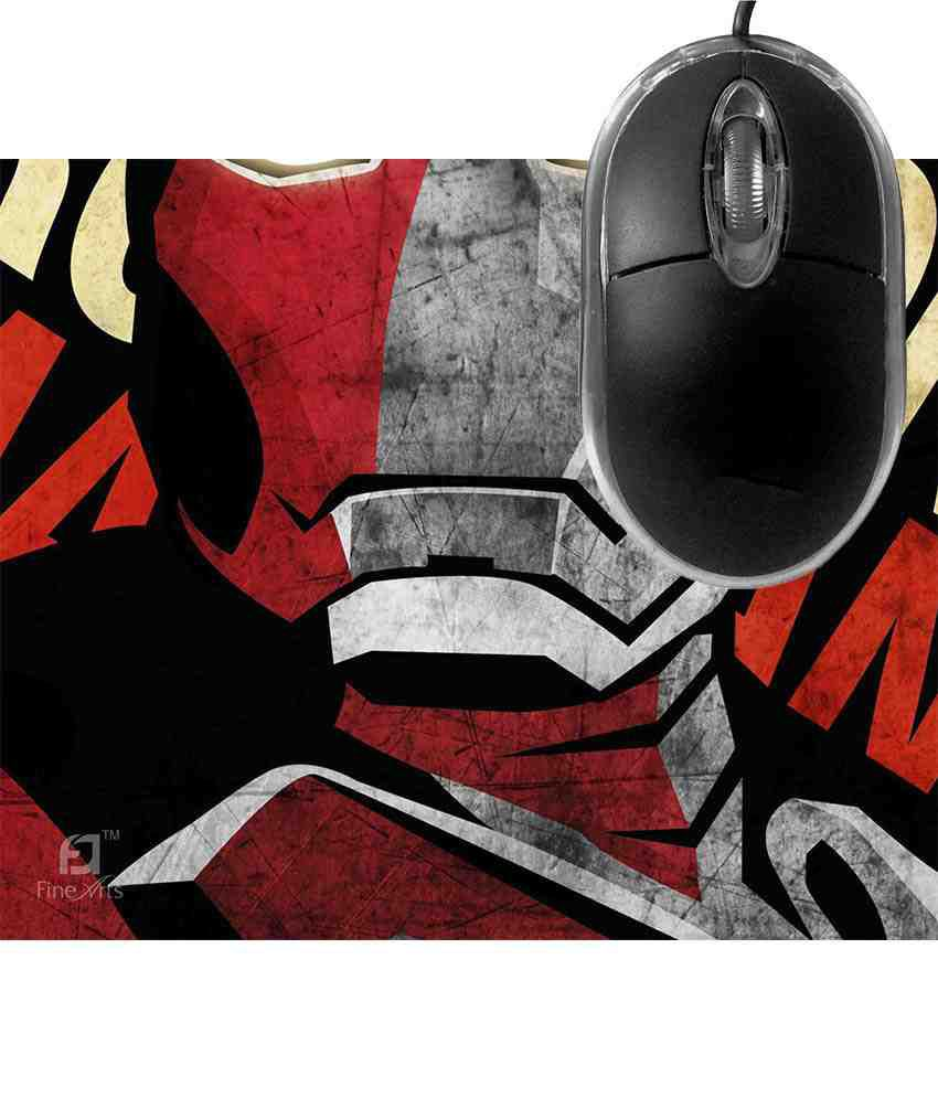 FineArts Iron Man Mousepad with Terabyte 3D Optical USB Mouse