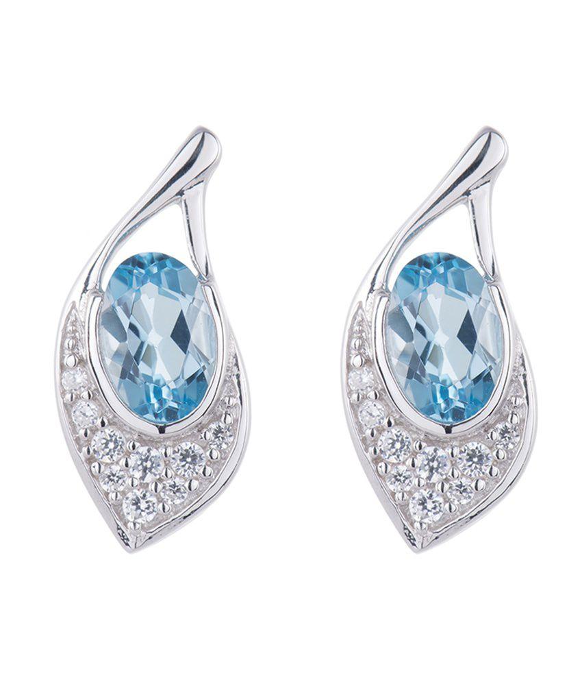 2c09c951e6b2d Kiara Swarovski Elements Blue Leaf Design Earrings