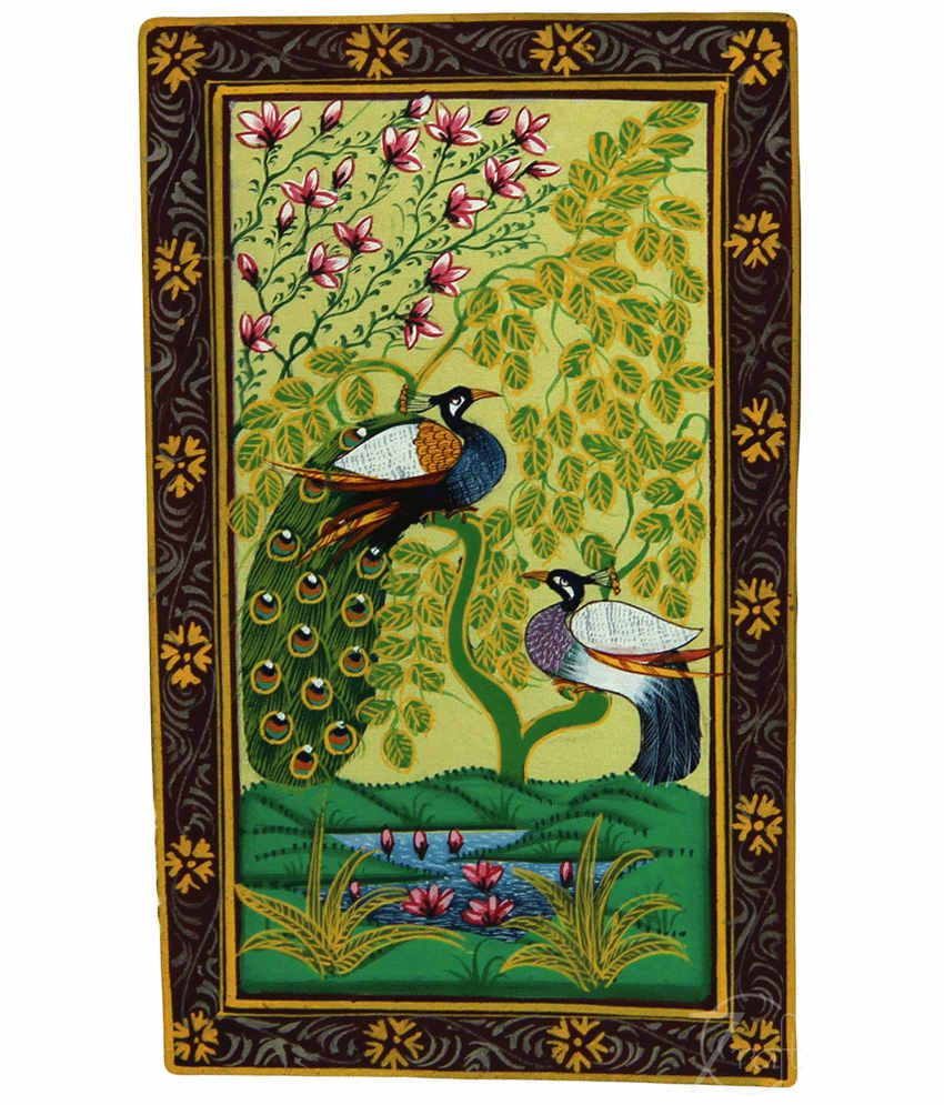 Handmade Indian Miniature Painting-Peacock and Peahen (With Black Frame)