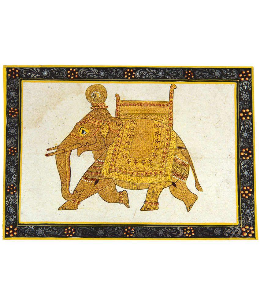 Handmade Pure Gold Extreme Miniature Painting-Rajasthani Elephant (With Black Frame)