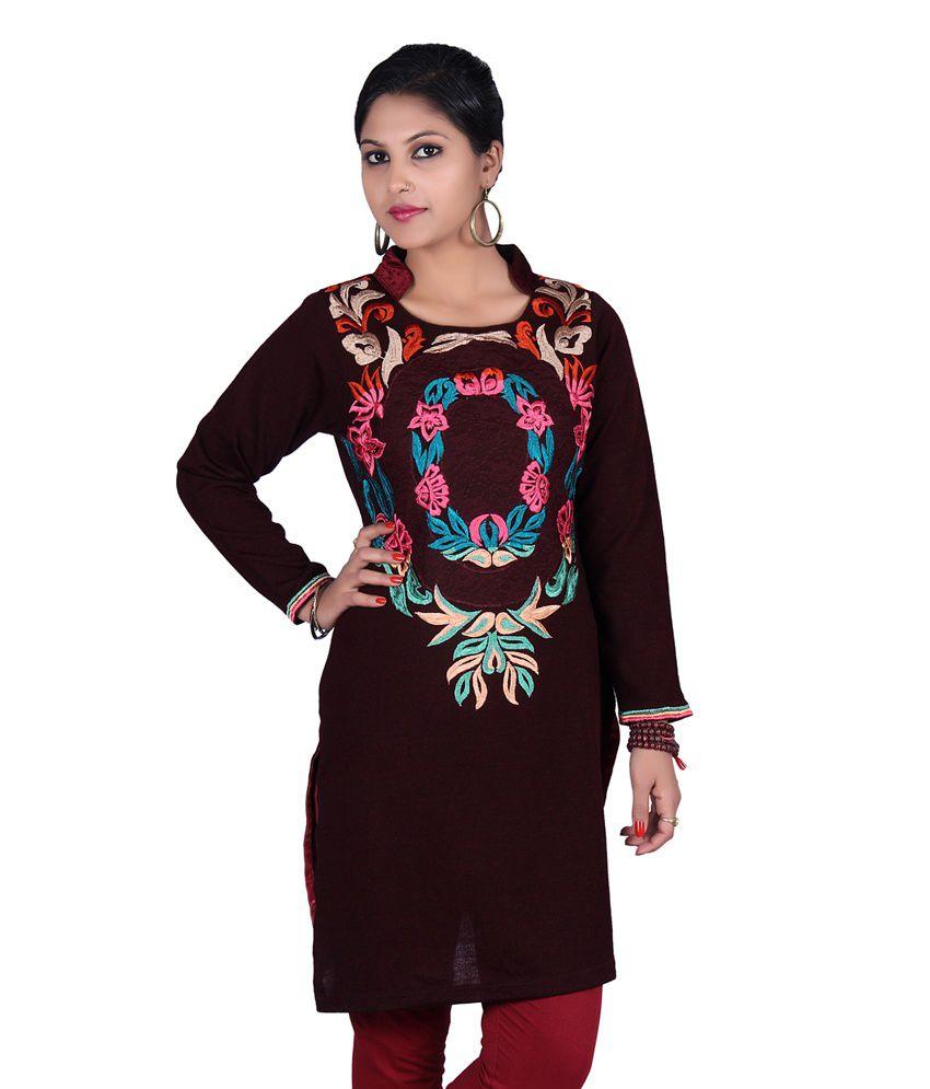 Cinzia Maroon Multi Colored Embroidery Woolen Kurti