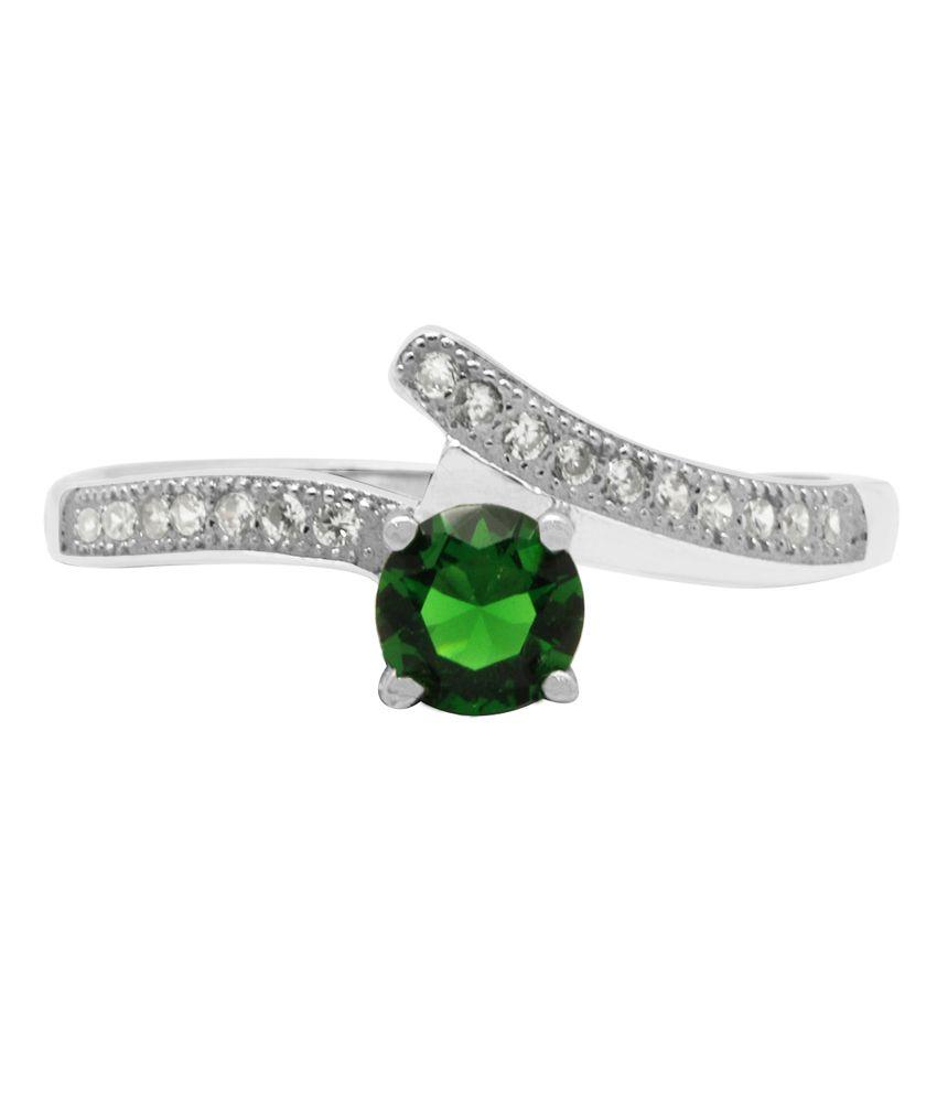 Gemtogems Emerald Inspired Sterling Silver Ring