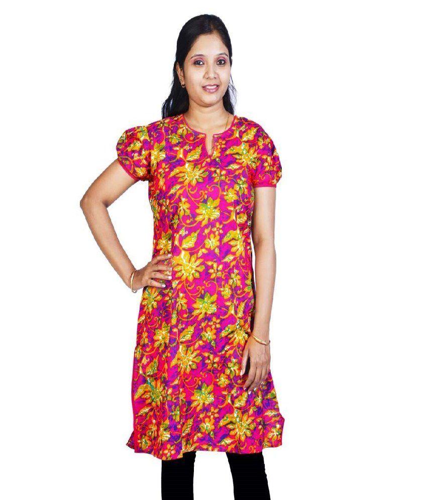Little India Cotton Printed Round Neck Kurti