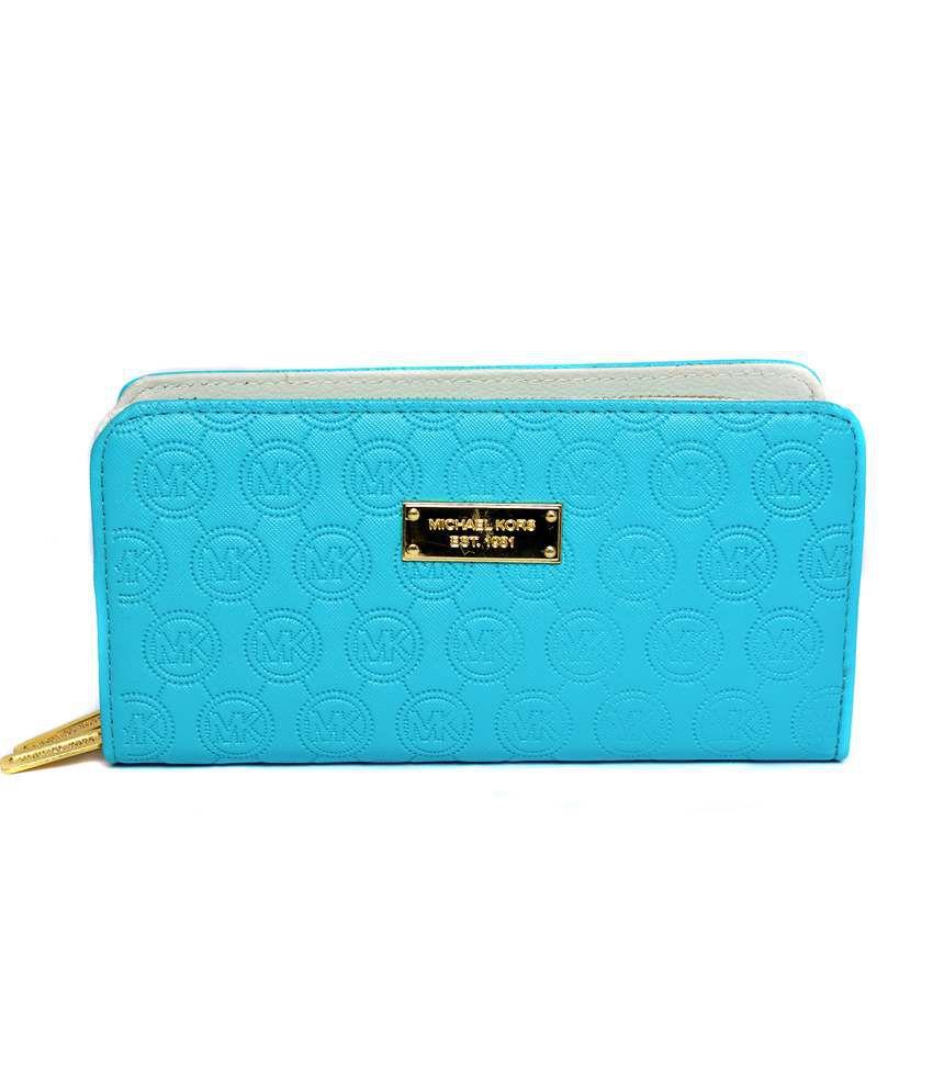 Michael Kors Blue Designer Long Wallet For Women