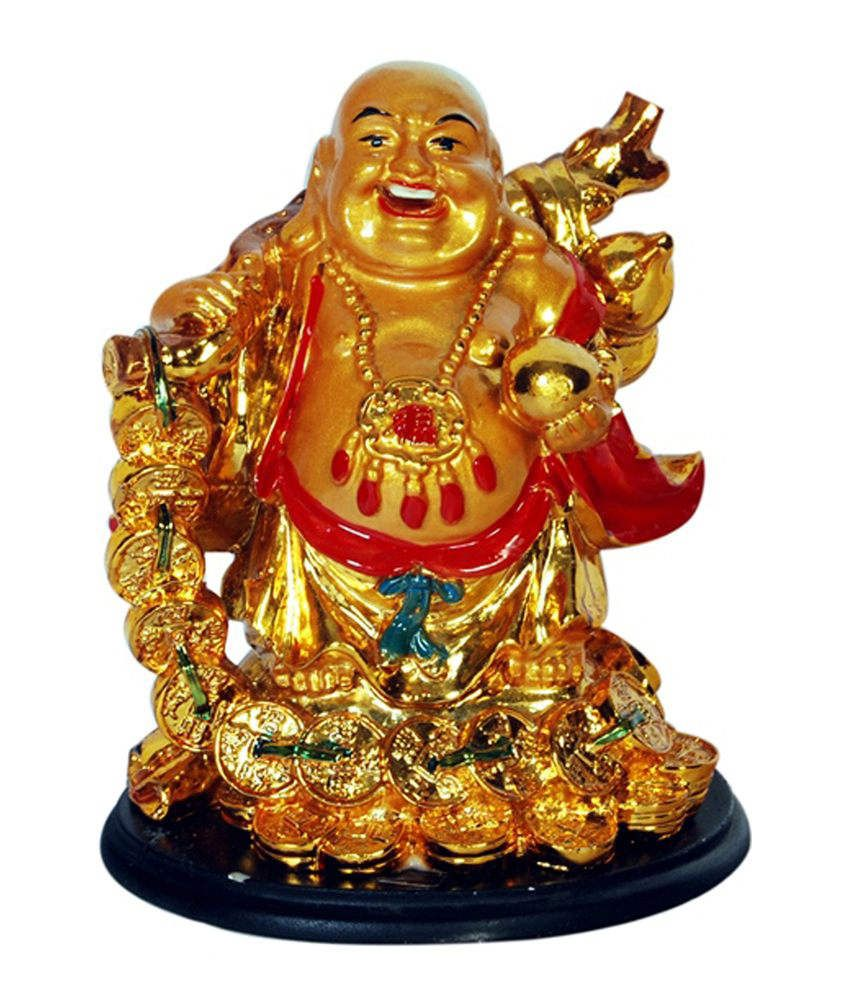 Odishabazaar Vastu Feng Shui Golden Laughing Buddha Showpiece