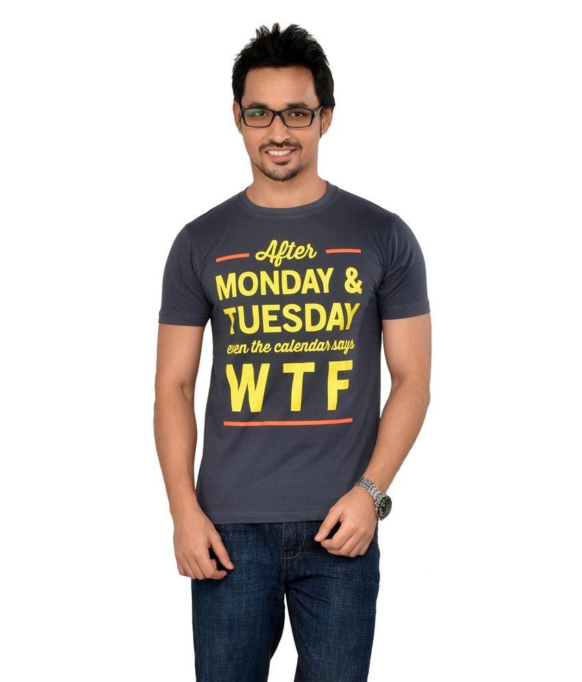 Tsg Escape Men's Printed Round Neck T-shirt - Charcoal Colour