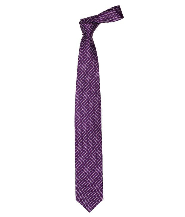 Vermello Purple Zig Zag Micro Fiber Men Broad Ties