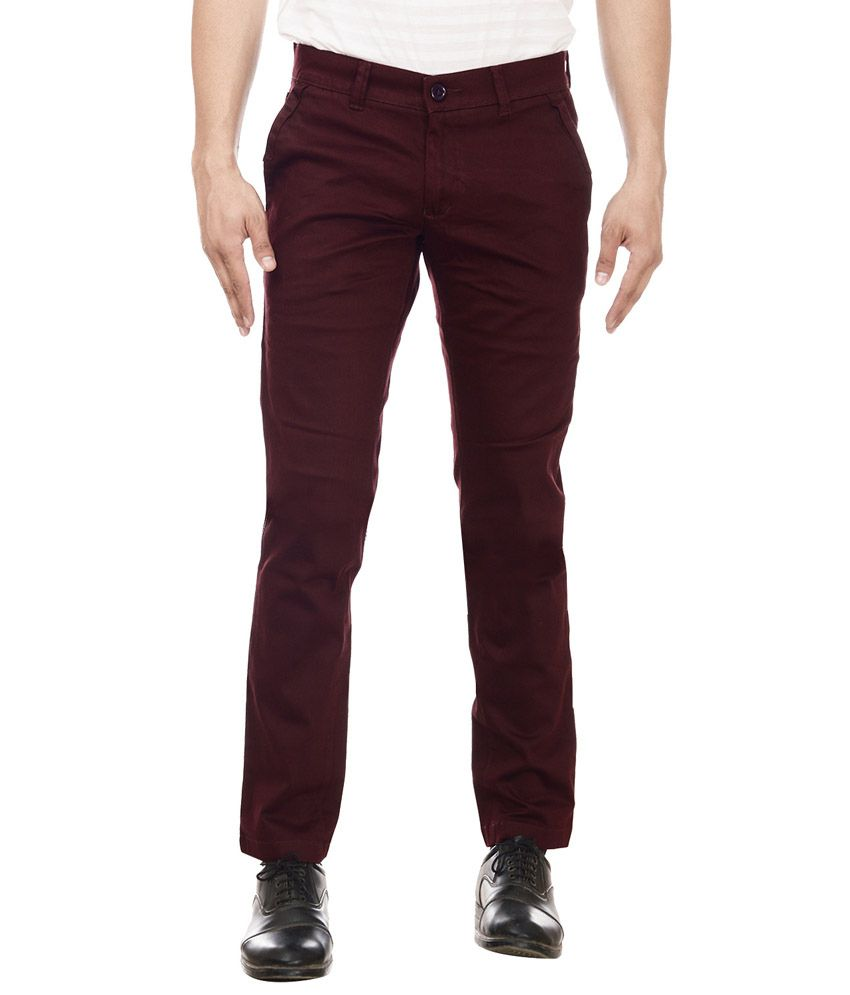 William Hazlitt Maroon Cotton Lycra Slim Trousers