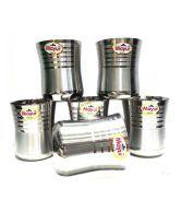 Mayur Gold Stainless Steel Damru Glass - Set Of 6pcs