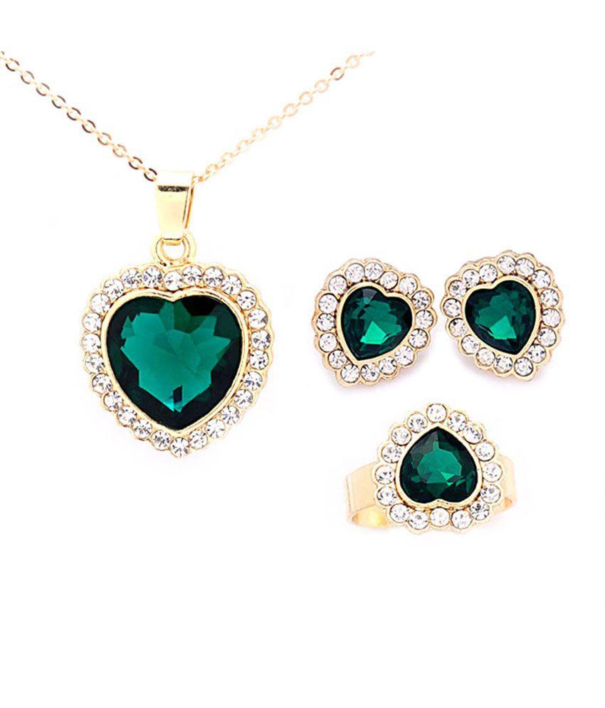 Beora Gold Plated Austrian Diamonds Green Heart Necklace ...