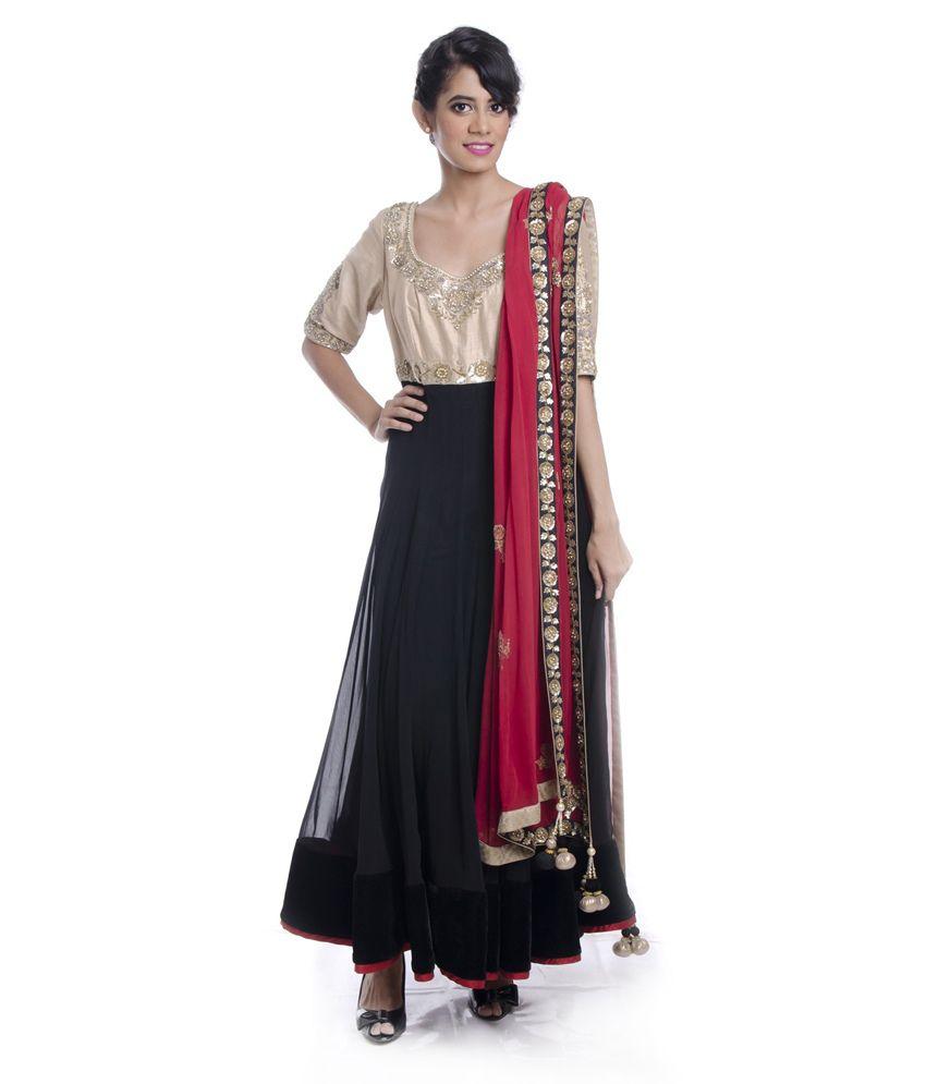 Cita 9 Black Faux Georgette Anarkali Salwar Suit