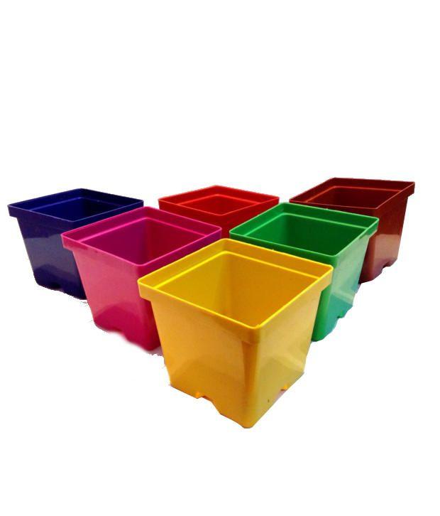 Malhotra Plastic Glossy Polypropylene Pots-set Of 6 Pots
