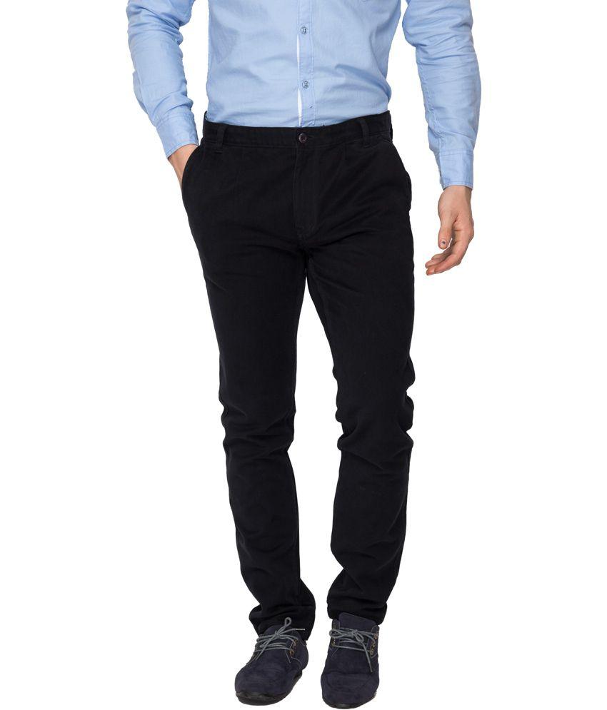 Rigs&rags Black Cotton Regular Trouser