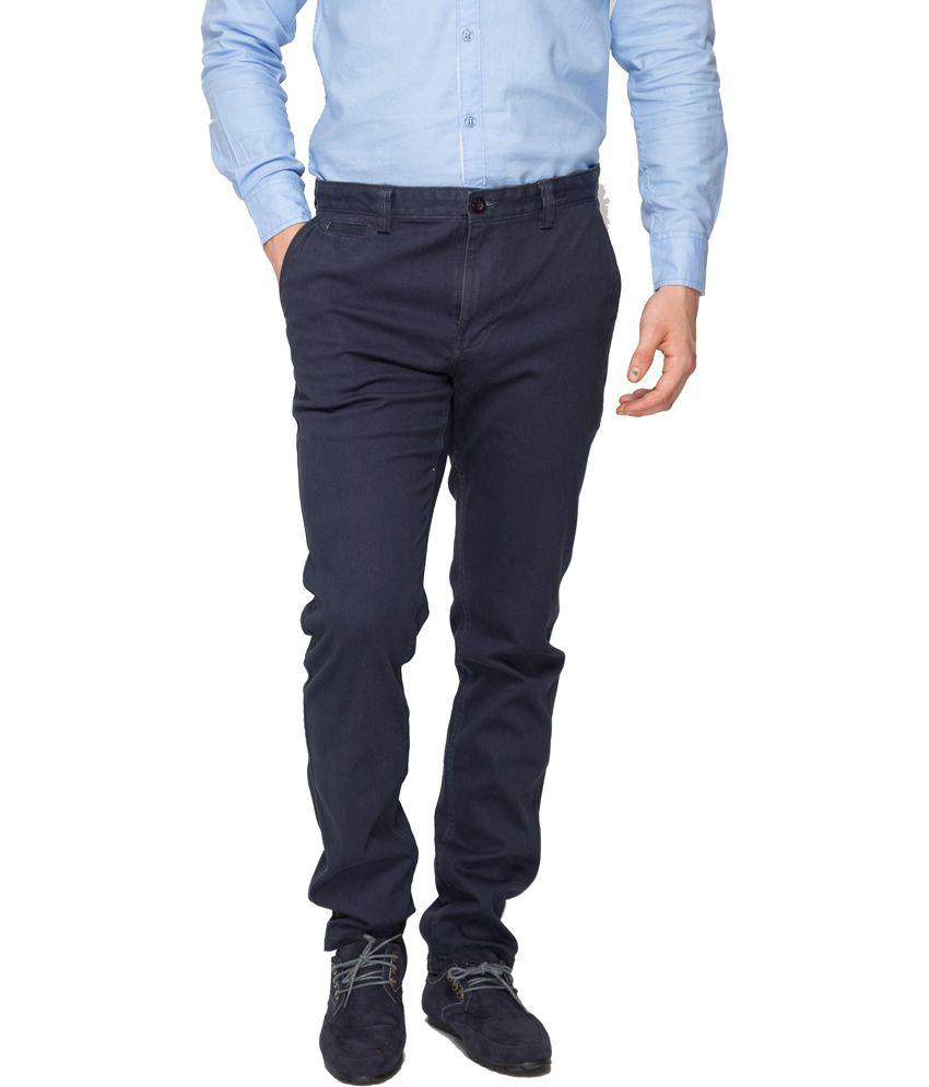Rigs&rags Navy Cotton Regular Trouser