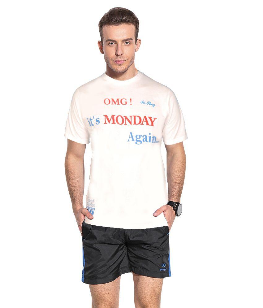 Rishag White Half Sleeve Round Neck T-shirt