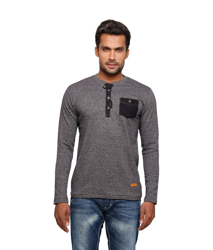 Status Quo Gray Basics Cotton Henley Full Sleeves Men T Shirt