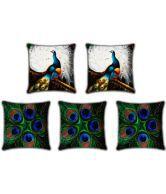Roopak Peacock Set Digital Print Cushion Cover - Set Of 5 Pcs