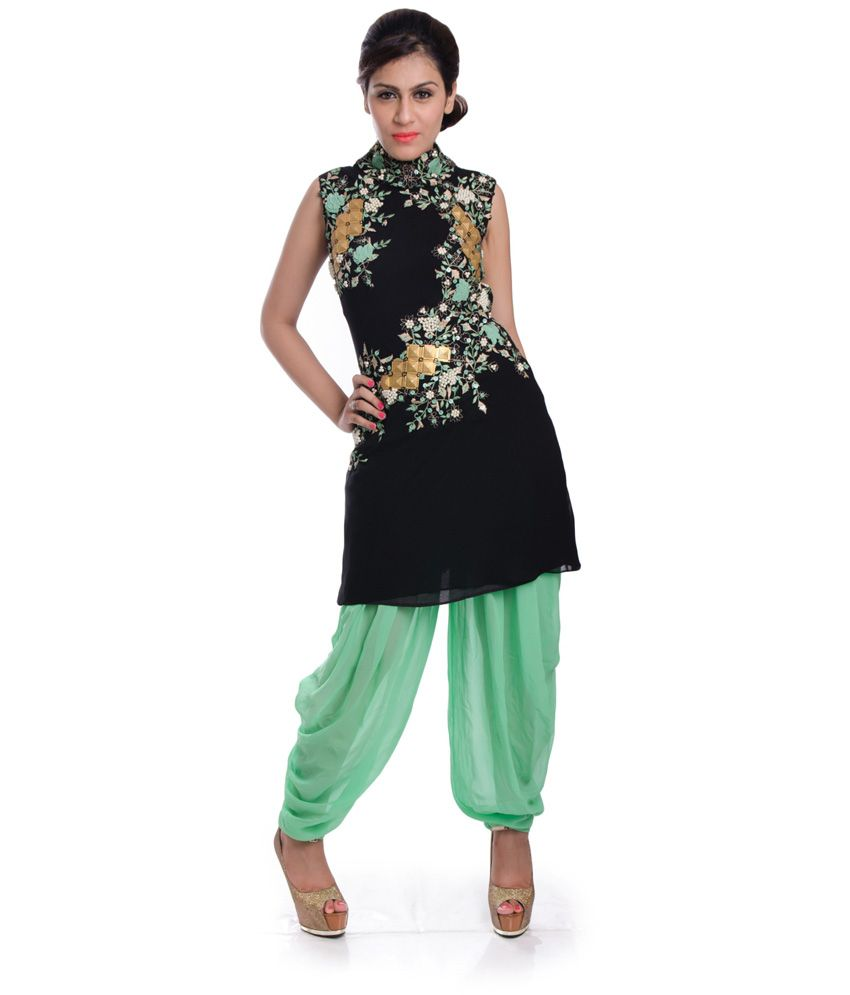 1600ad Black Embroidered Pure Georgette Straight Fit Stitched Salwar Suit