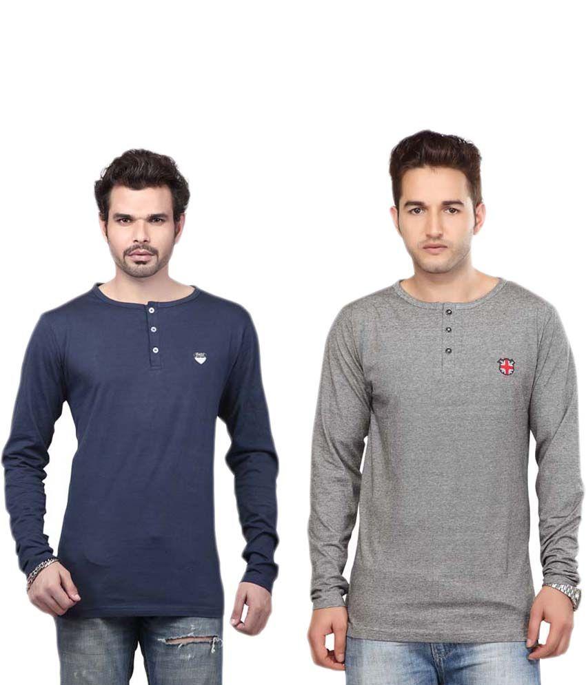 Free Spirit Multicolour Cotton Full Sleeves Henley Neck T-shirt - Pack Of 2