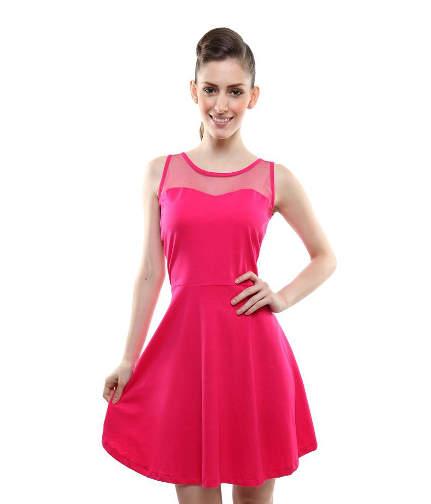 9e90560c38 Miss Chase Pink Cotton Mini skater Dresses For Women Sleeveless Round Neck  Party Wear - Buy Miss Chase Pink Cotton Mini skater Dresses For Women  Sleeveless ...