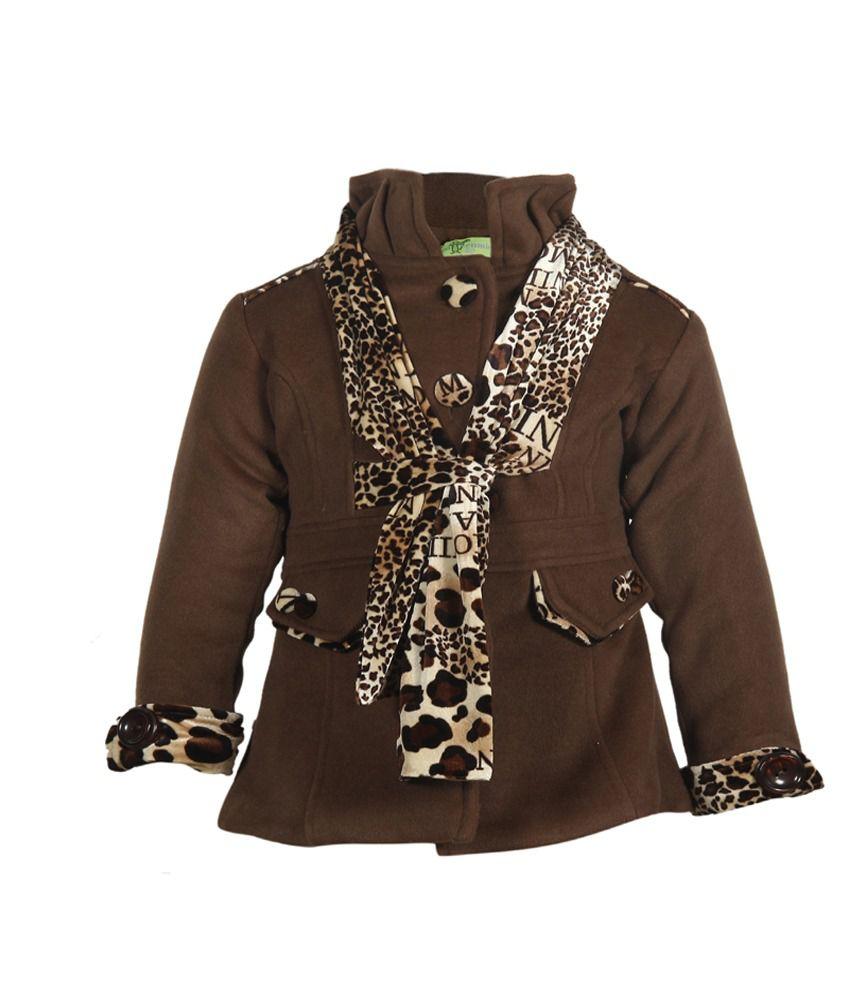 Cutecumber Brown Mesh Full Sleeve Coats