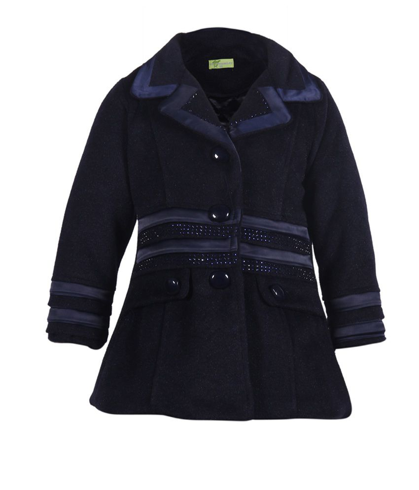 Cutecumber Navy Mesh Full Sleeve Coats
