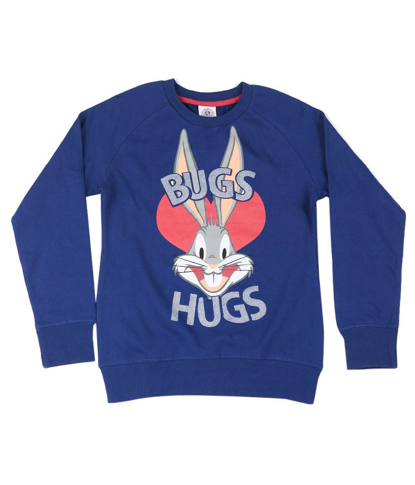 Looney Tunes Royal Blue Graphic Cotton Sweatshirt