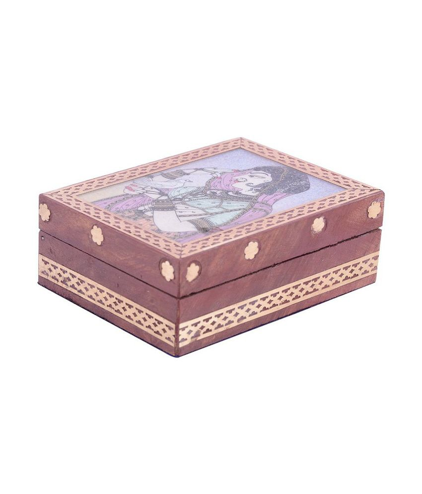 Sheela's Wooden Gemstone With Beautiful Paintings Jewellery Box Code No:sh936