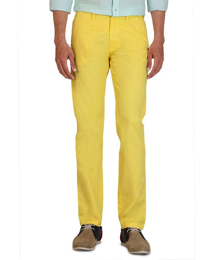 Allen Solly Yellow Slim Formals
