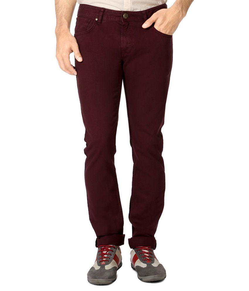 Peter England Maroon Super Skinny Jeans