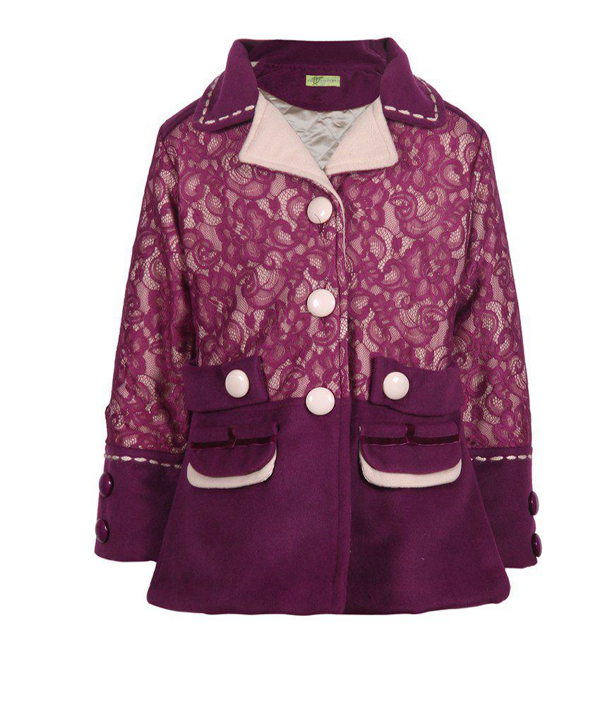 Cutecumber Purple Mesh Full Sleeve Coat For Girls