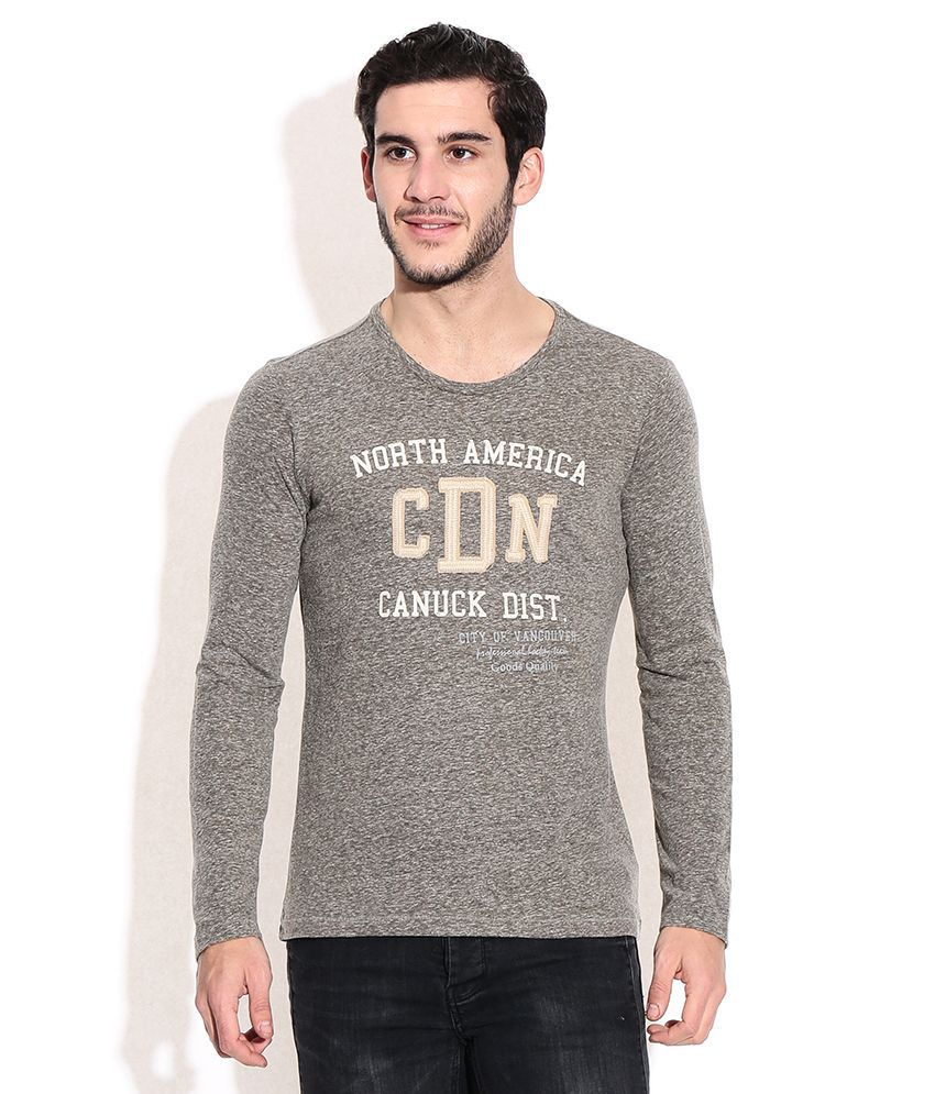 United Colors Of Benetton Gray Polyester T-shirt