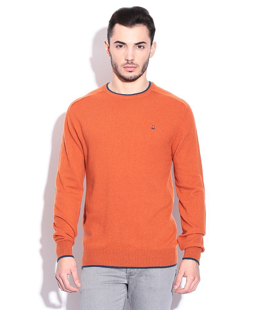 00f84c258cdf United Colors Of Benetton Orange Lambs Wool Round Neck Sweater - Buy ...