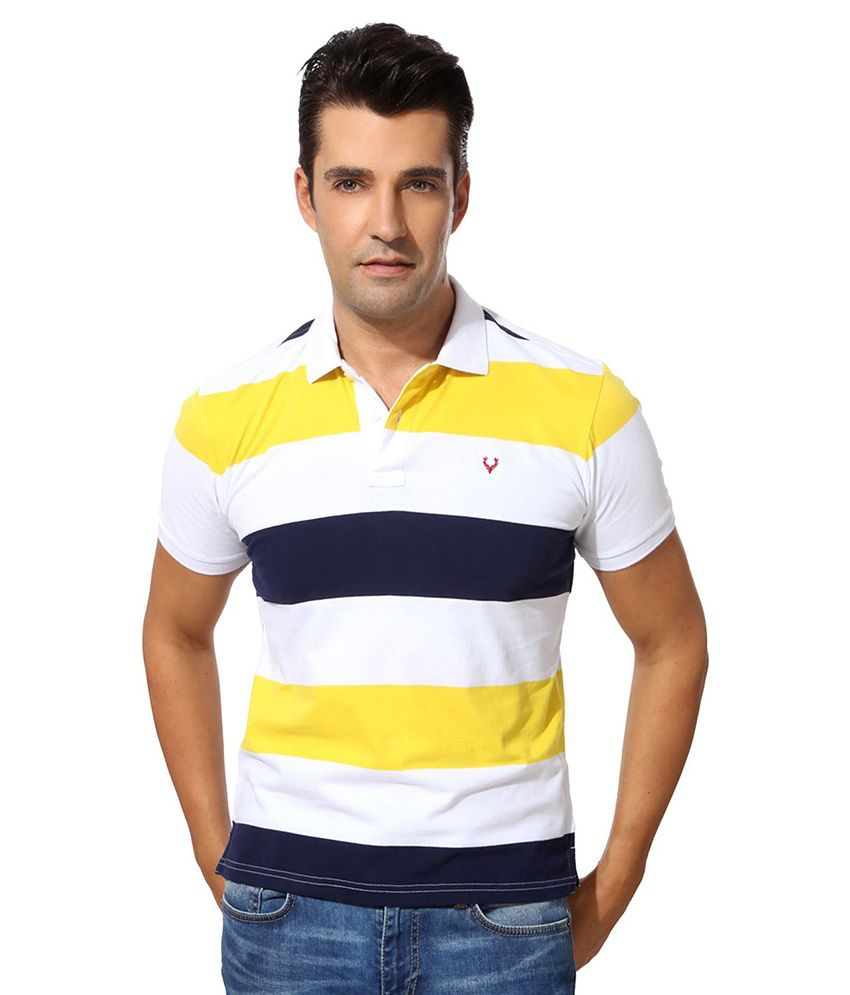 Allen Solly Yellow Cotton T-shirt