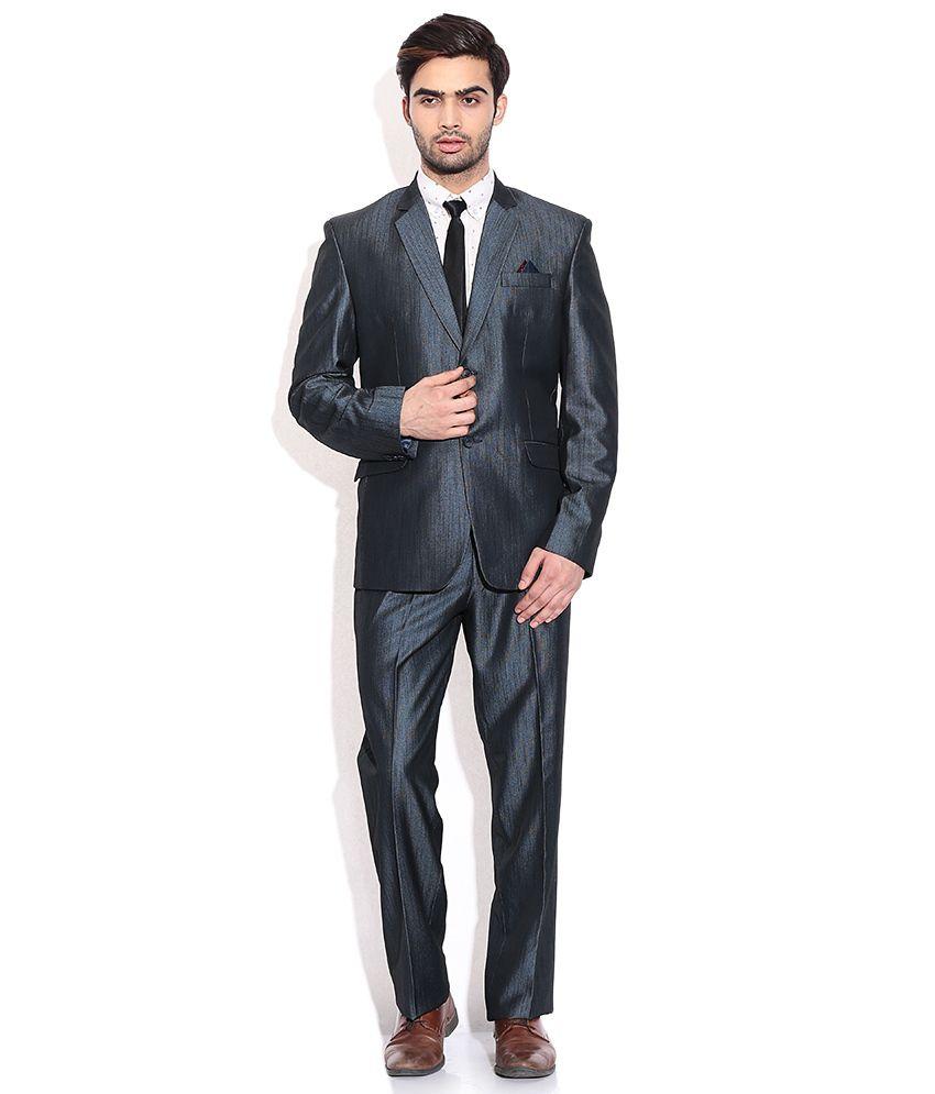 La Scoot Blue Colour Suiting Fabric Formal Wear Coat Pant Plain
