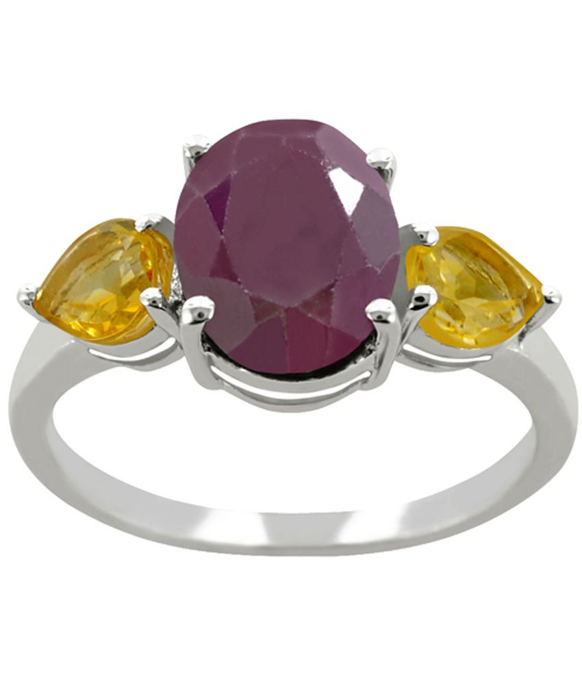 Arsh Crown Sky Dominion 3.30 Cwt 925 Sterling Silver Ring With Gemstones Ruby & Citrine