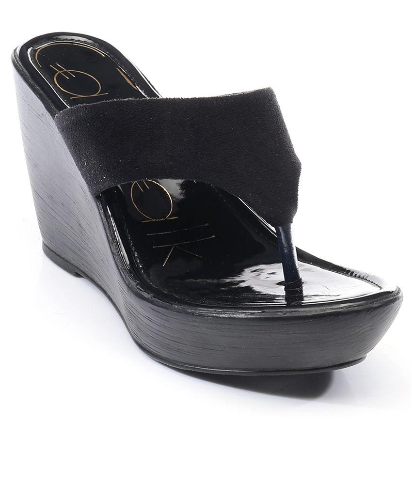 a37f943d4 Catwalk Black Heeled Slip-On Sandals Price in India- Buy Catwalk Black  Heeled Slip-On Sandals Online at Snapdeal