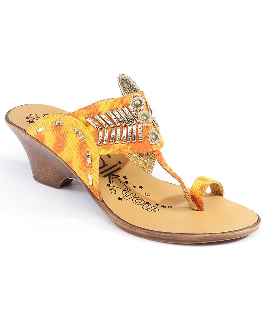 Catwalk Yellow Wedges Heeled Slip-on