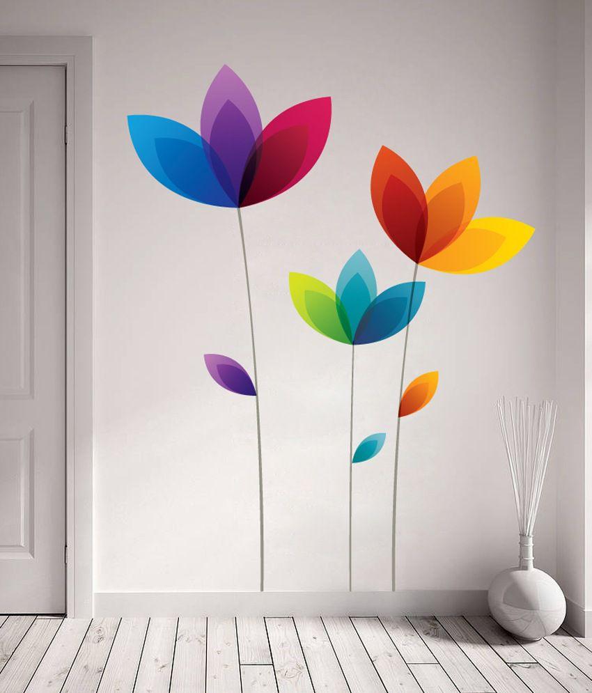 Decor Kafe Colorful Flowers Wall Decal Buy Decor Kafe Colorful