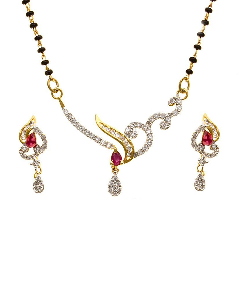 Jewelscart Golden Brass And Copper Traditional Two Tone Cz Mangalsutra Set