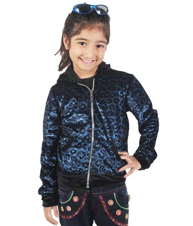Purple Nasty By Ritu Wears Blue Woollen Sweatshirt For Girls