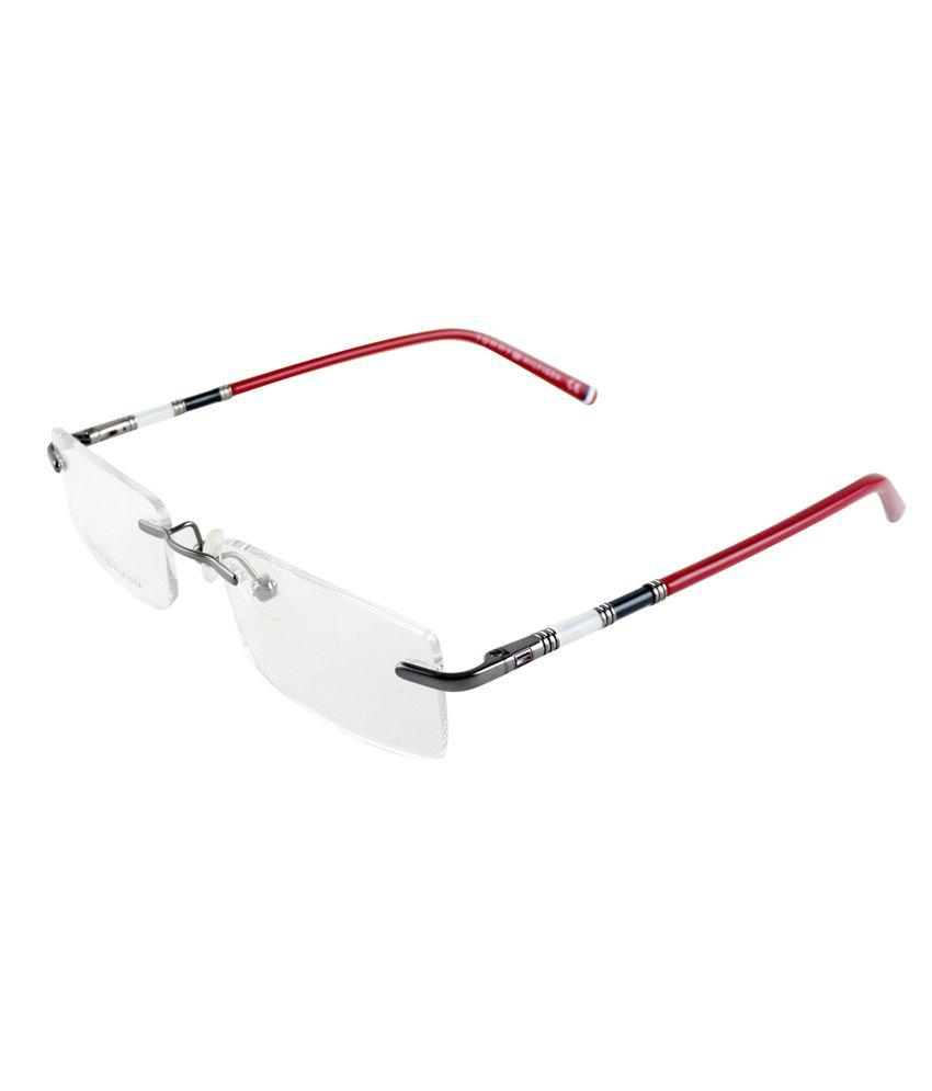 Tommy Hilfiger Red Frame Rectangle Shape Eyeglasses - Buy Tommy ...