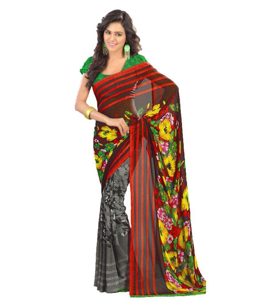 Party Wear Dresses Multi Color Art Silk Saree